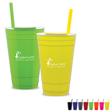 Soireé Acrylic Party Cup w/ Straw, 16oz., BPA Free - Free Set Up Charges!